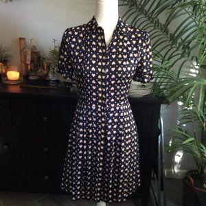 JCrew Silk Blue Heart Print Short Sleeve Dress